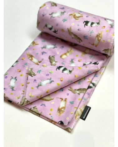 Minky blanket with pink rabbit